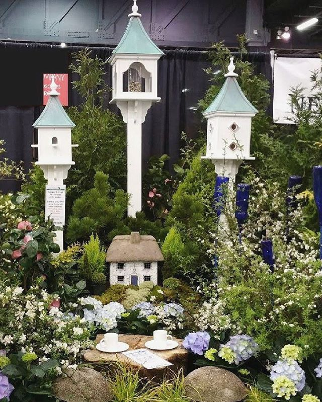 Copper Roof Birdhouses and Bird Feeders in durable Vinyl/PVC. At the ATL Home Show- English Garden display. #Birdhouses #BirdFeeders #GardenIdeas #birdhouses