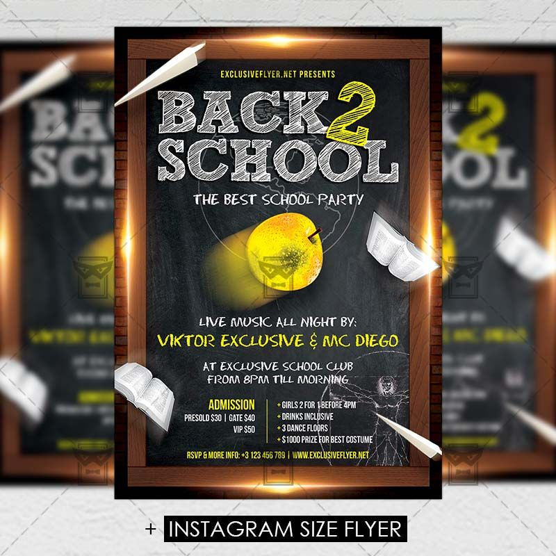 Back To School Party Premium A5 Flyer Template Httpswww