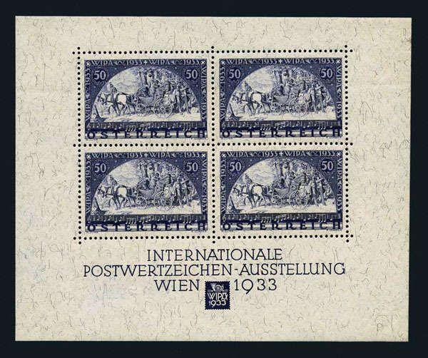 Austria, Michel Block 1, Scott B111 Austria, 1933 WIPA Souvenir
