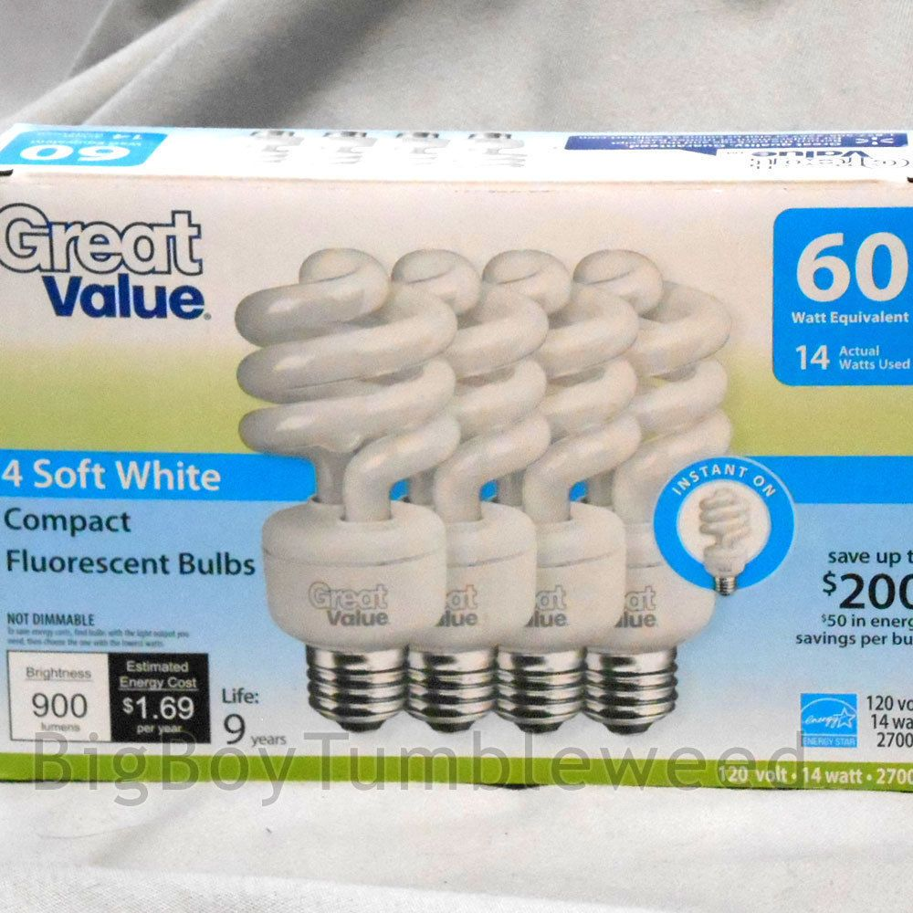12 Great Value Soft White Compact Fluorescent Light Bulbs 14w 60w 2700k Spiral Greatvalue Boytumbleweed