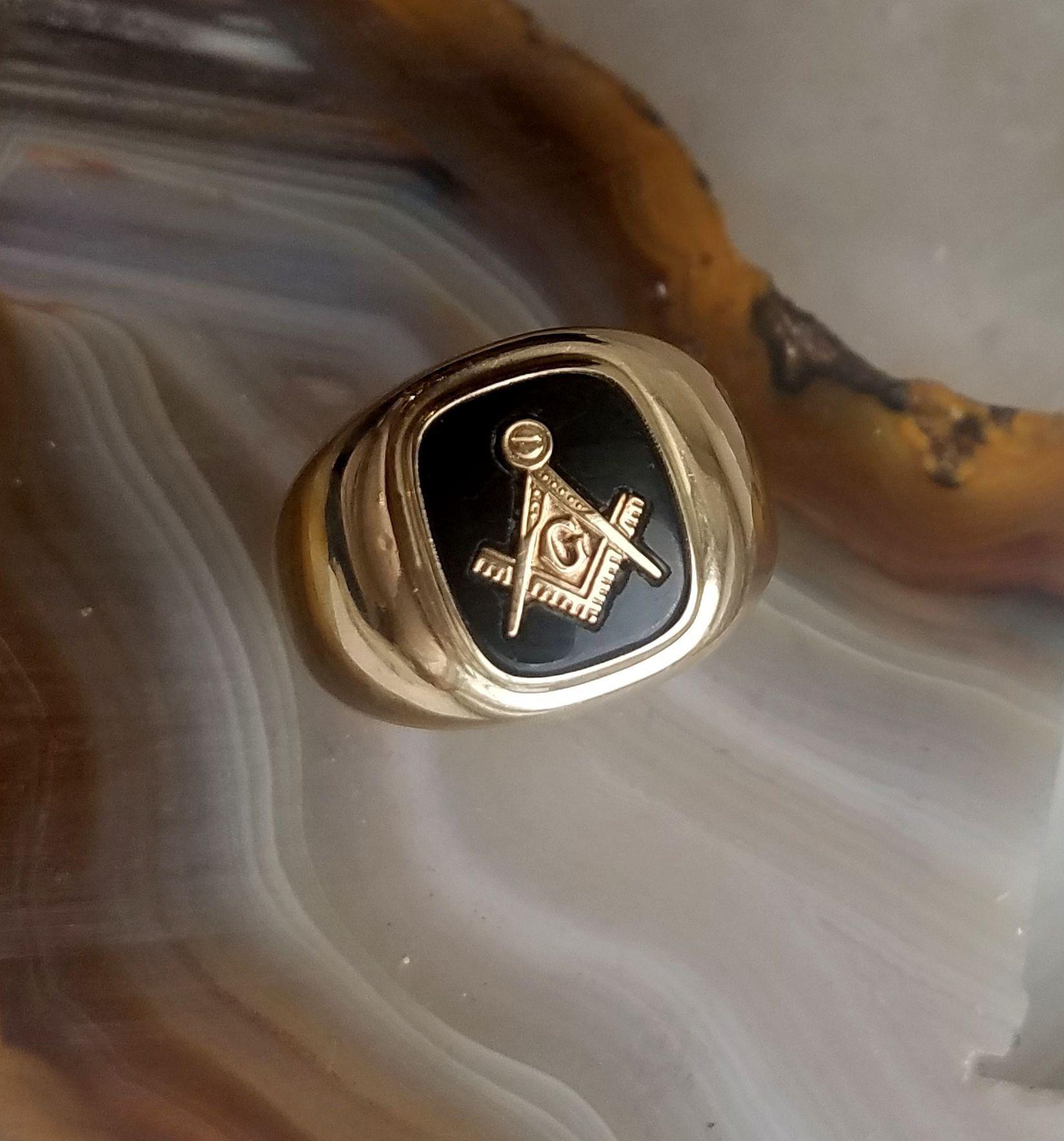 Vintage 10k Yellow Gold Mens Masonic Ring 10k Yellow Gold Masonic Ring With Black Onyx 14k Yellow Gold Earrings Masonic Ring Yellow Gold Earring