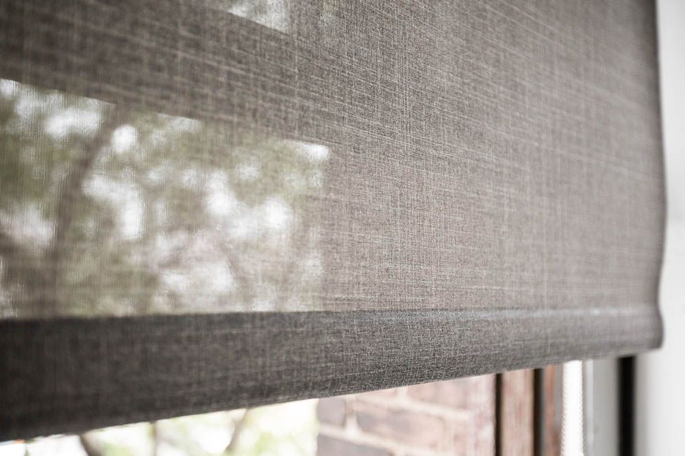 Close Up Of A Light Filtering Roller Shade Privacy Light Control And Glare Reduction Diy Blinds Blinds For Windows Fabric Blinds