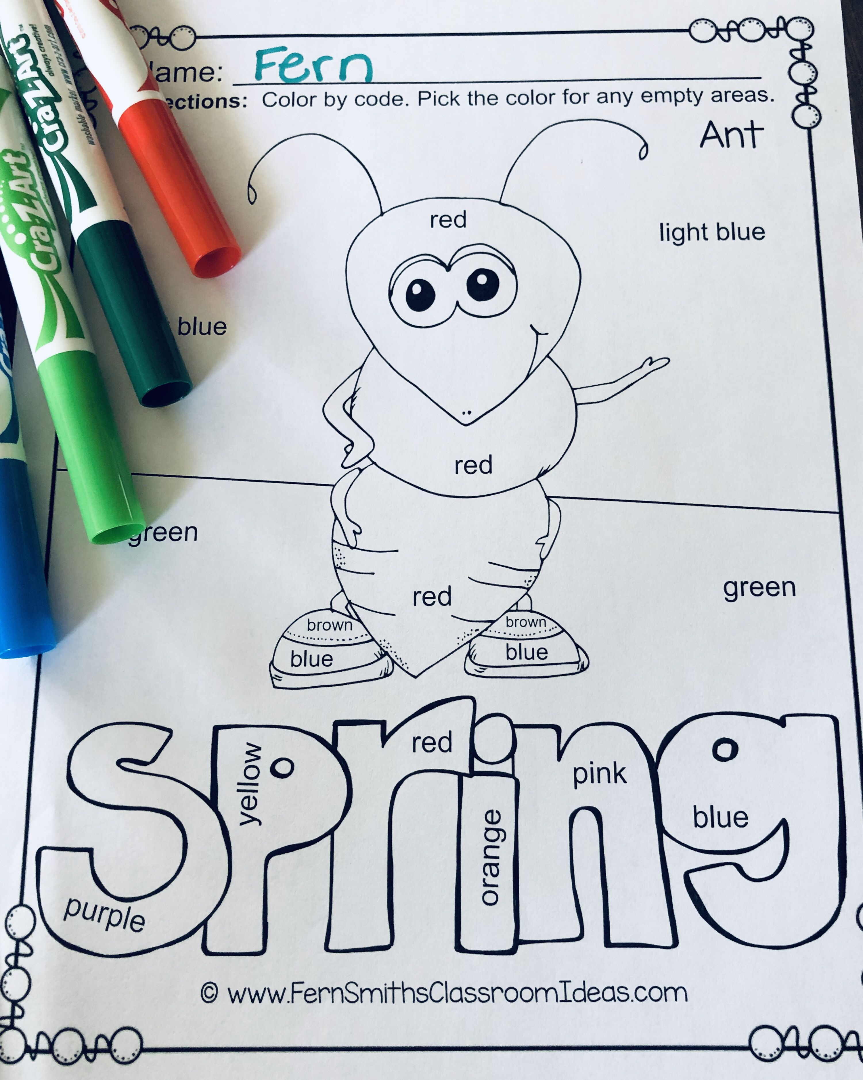 Color By Code Spring Bug Fun Know Your Colors With Images