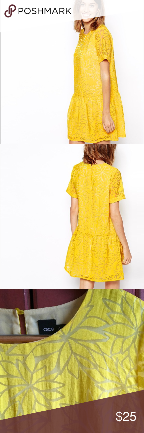 Like new ASOS yellow floral drop waist dress sz 12 This stunning bright yellow floral dress from ASOS is amazing! It features a drop waist and a yellow floral burnout pattern. The dress has been worn only once, and will arrive freshly laundered. ☀️ My pictures don't do the color justice, it is much more true to the model pictures. It's stunning, don't miss this dress! ASOS Dresses Midi