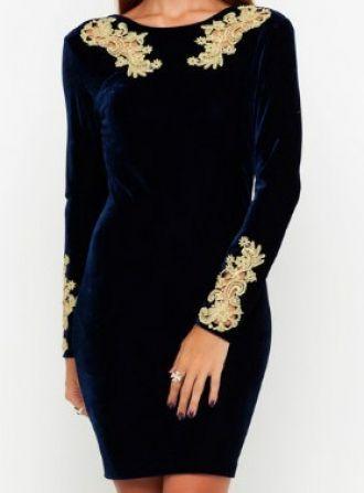 navy and gold velvet dress