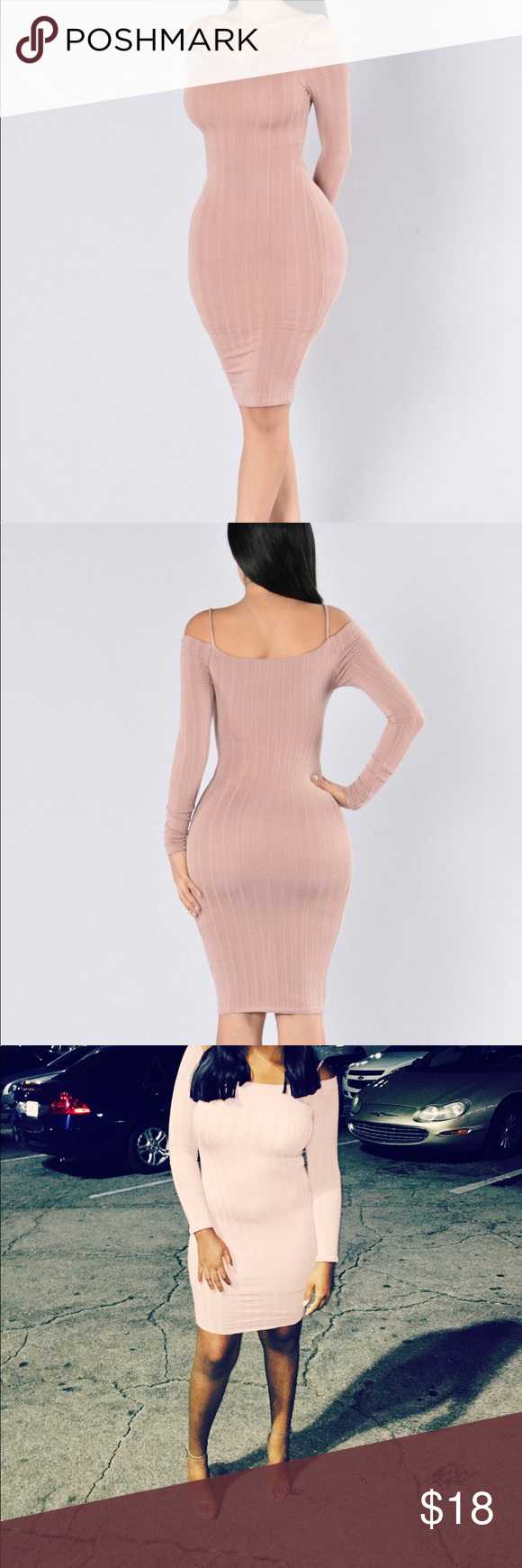 306a63528bdb No One Like You Dress - Mauve - Large Worn Once Available in Mauve Off the  shoulder Long Sleeve Ribbed Midi Length 95% Rayon