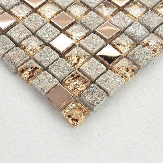 Grau und Rose Gold OX022-11,7 x 11,7 Stein Mosaik Mischglas & Edelstahl Akzent Wandfliesen, klare Kristall und Metall Backsplash Fliesen #bathroomtileshowers