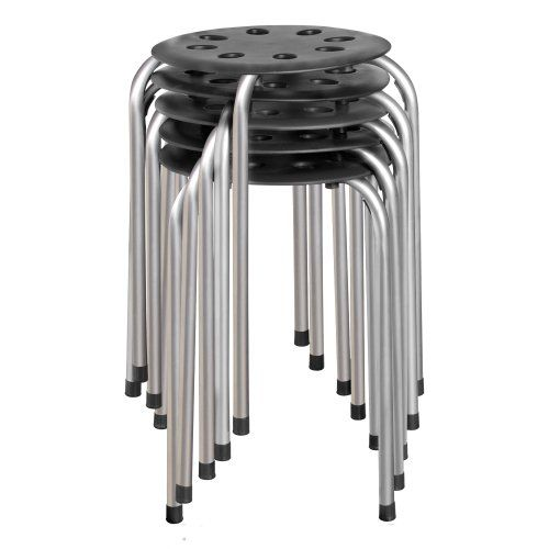 Plastic Stack Stool Black With Silver Legs Pack Of 5
