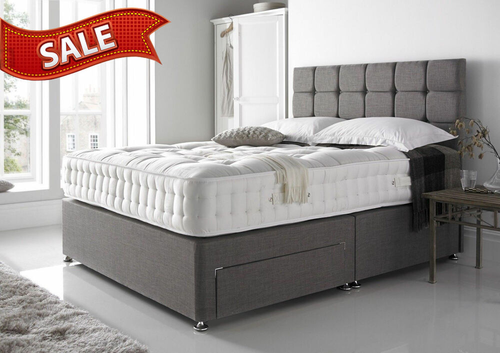 Details About Grey Suede Divan Bed Base Small Double King
