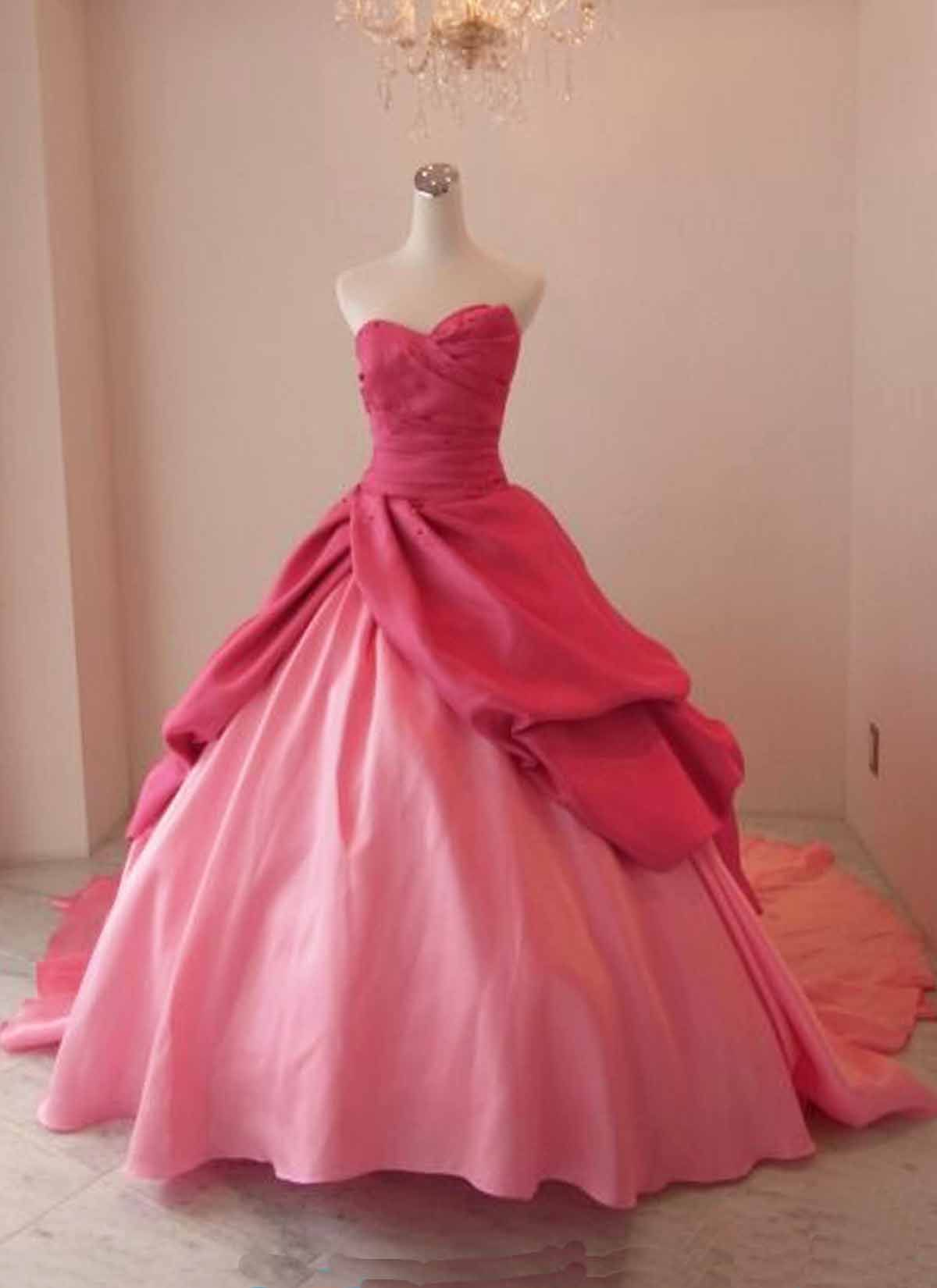 Pink taffeta strapless long ball gown pink vintage prom dress prom
