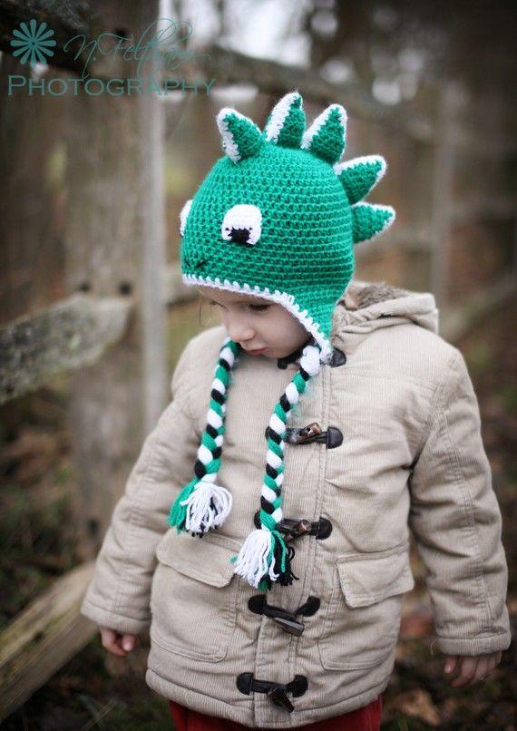 Crochet Dinosaur earflap beanie hat in by ButterflyBoutiqueUK ...