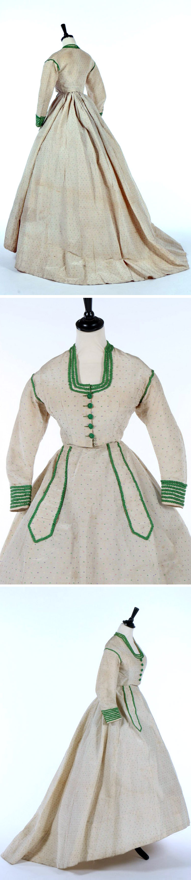 Spotted silk gown ca. 1867. Separate bodice with green braid buttons and cuffs, similar tabs on oval skirt. Kerry Taylor Auctions