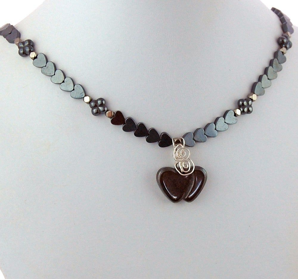Necklace for Women Natural Gray Stone Jewelry Gemstone Heart Pendant Hematite Necklace Gift for Her