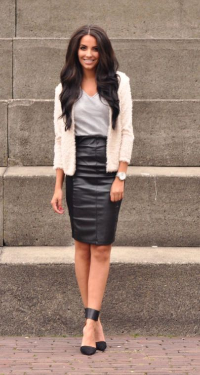 8693d19a02 50+ Leather Skirt Outfit Ideas 5 | Things to wear | Skirt outfits ...