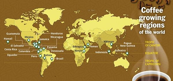 Map Of The World S Coffee Regions A K A The Bean Belt  Cafs