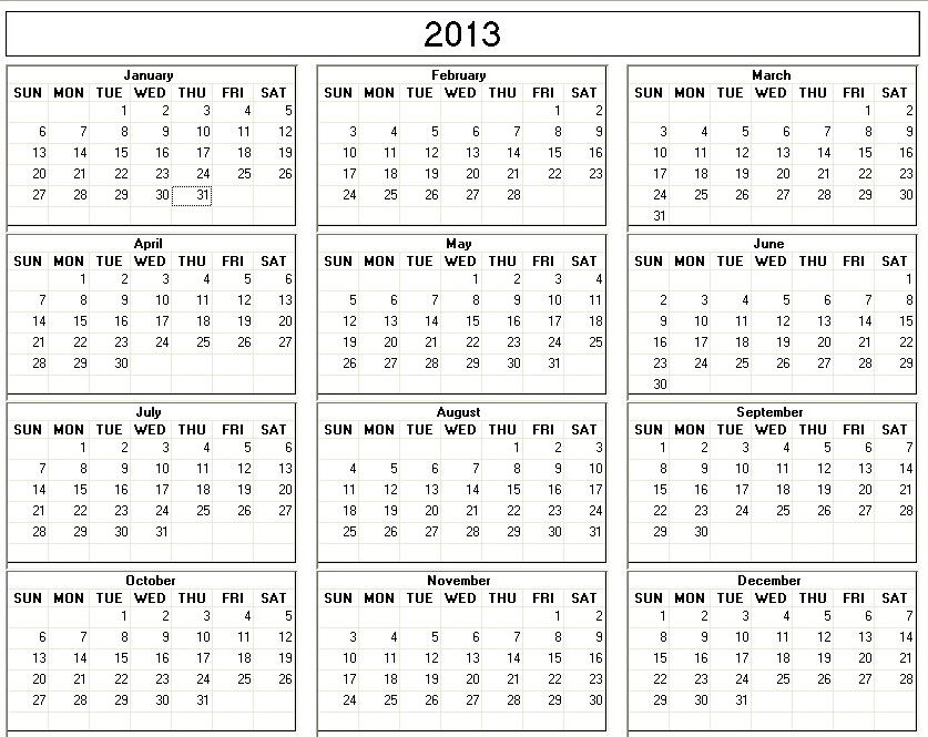 Free Printable 2013 Monthly Calendars 2013 Printable Calendar - yearly calendar