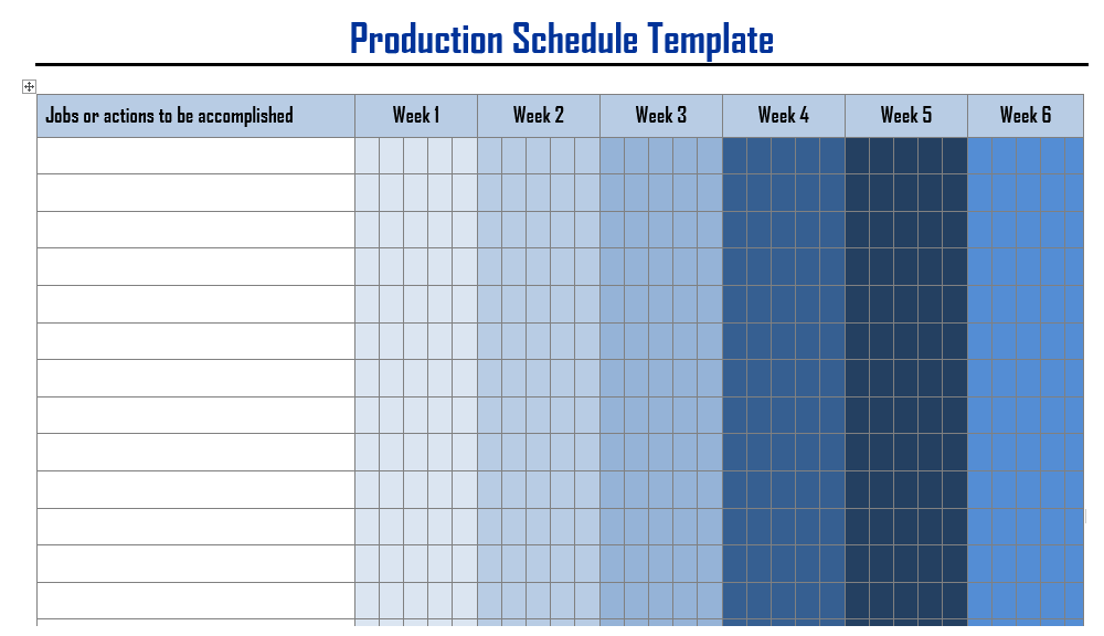 Production Schedule Templates In Word Format  Wordtemplateinn