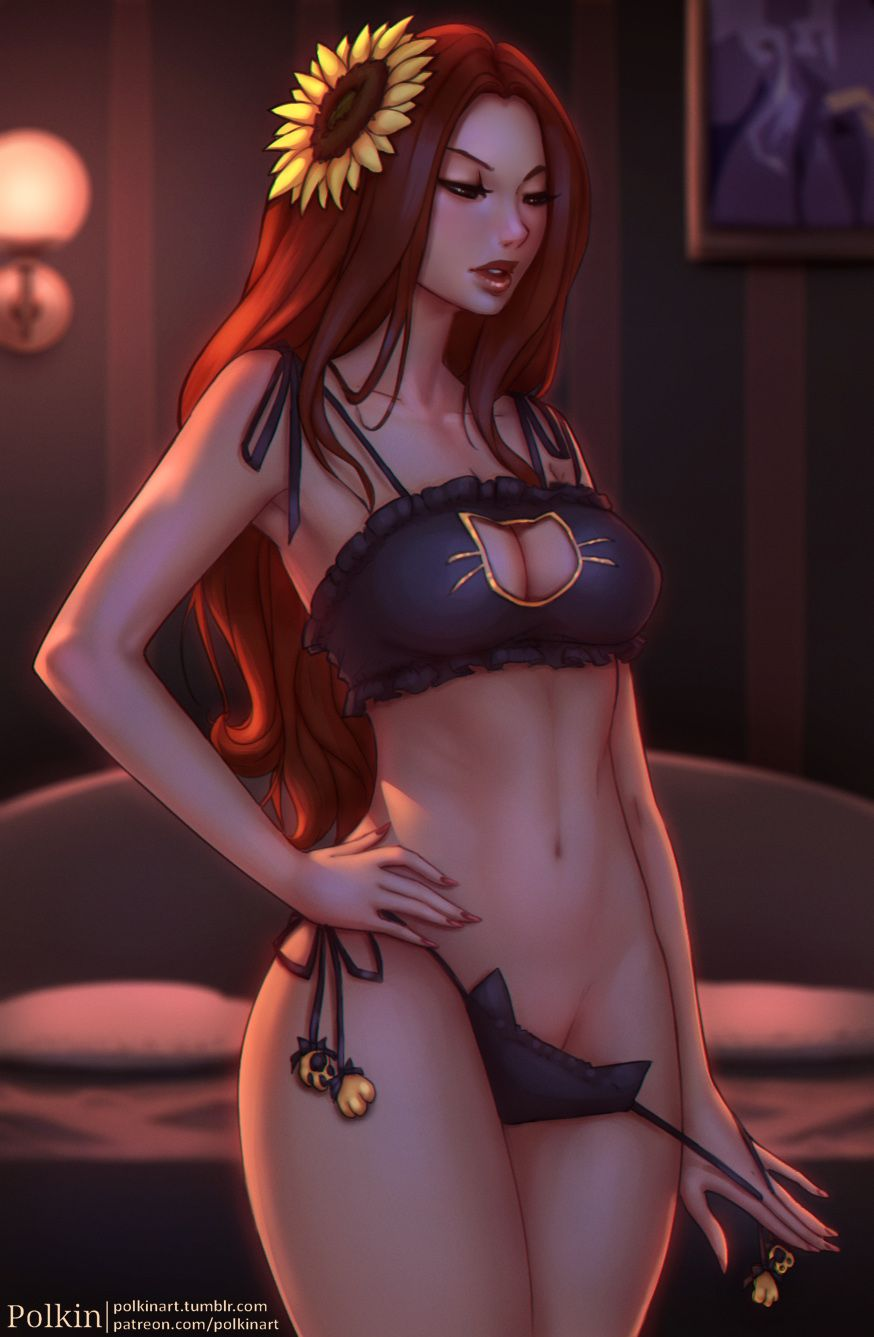 Sexy Leona Kitty Underwear By Polkin HD Wallpaper Background Fan Art Artwork League Of Legends Lol