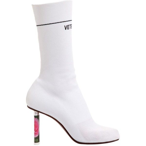 Vetements Women 80mm Elastic Boots W/ Lighter Heel ($1,560) ❤ liked on  Polyvore