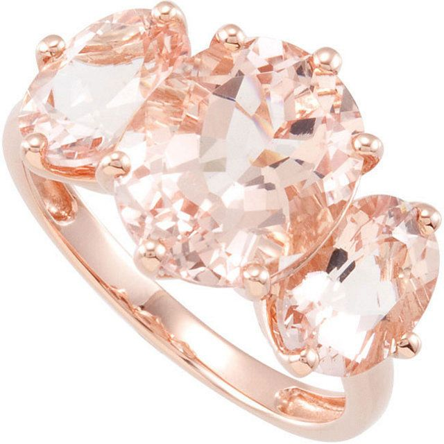 530 cttw Three Stone Morganite 14k Rose Gold RING Sz 7 Engagement