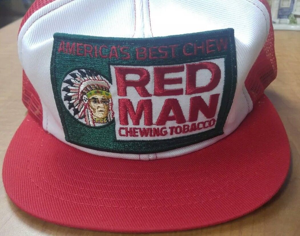 eed711618 Vintage Red Man Chewing Tobacco Red White Patch Trucker SnapBack ...