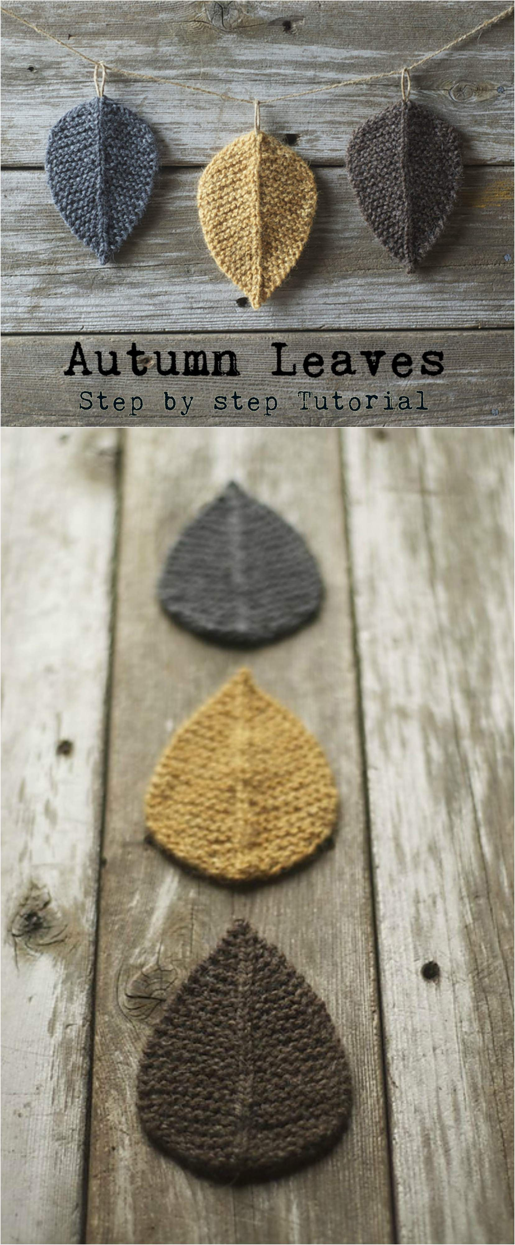 Knitted wedding decorations  Knit Autumn Leaves  Vzory Urob si sám a Pletenie