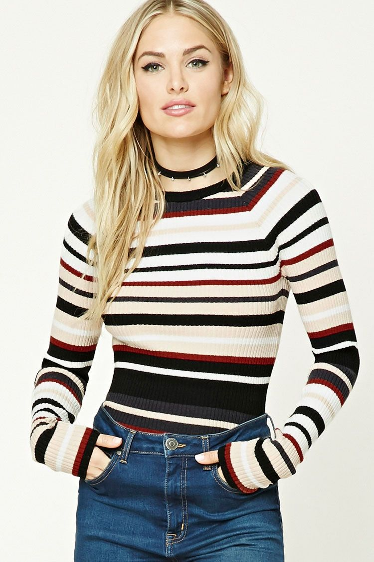 8ef30f015d4c25 Forever 21 Contemporary - A ribbed knit top featuring allover colorblocked  stripes