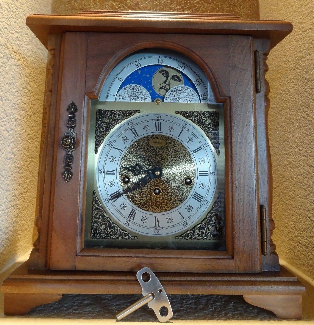 vintage emperor walnut mantle clock moon phase u0026 franz hermle movement - Mantle Clock