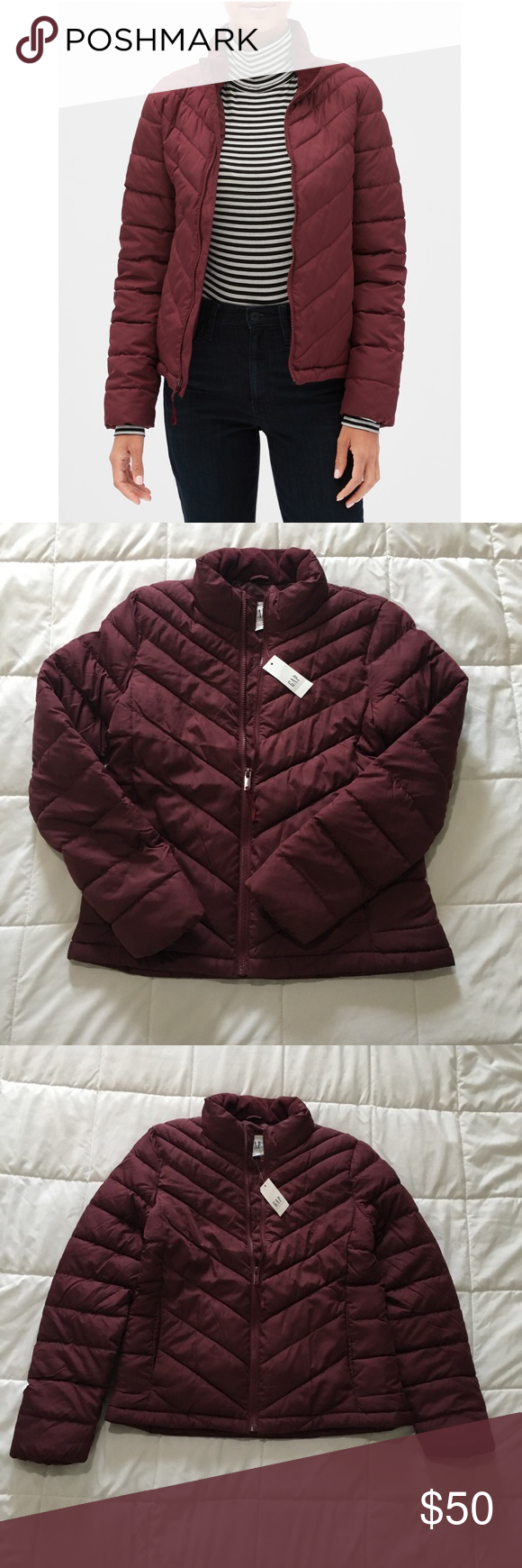 Gap Lightweight Puffer Jacket Dark Maroon Burgundy Straight Silhouette With A Slim Fit Hits At The Hip Smooth Quilted W Clothes Design Jackets Gap Jacket [ 1740 x 580 Pixel ]
