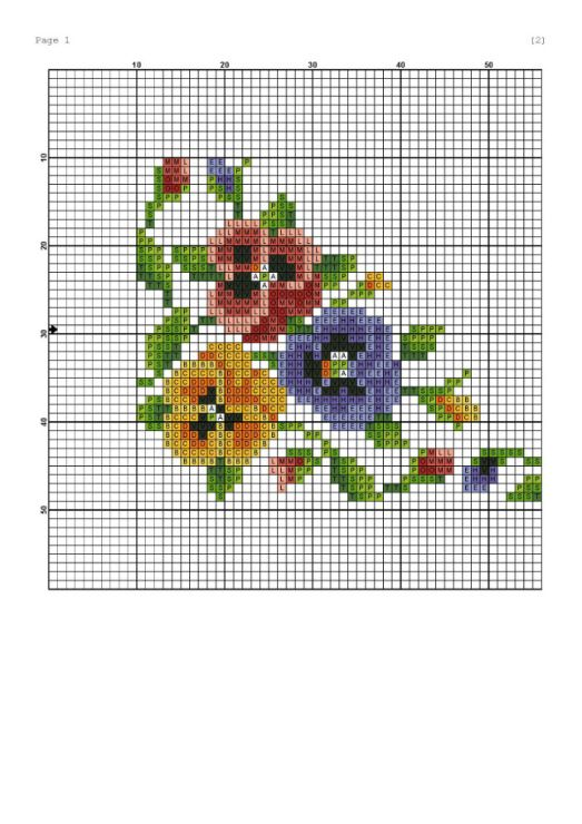 Pansy cross-stitch chart. (Site not in English.)  There are dozens of free patterns out there.  Search for (crossstitch or needlepoint or tapestry)  and (pansy or viola or violet).