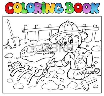 Préhistoire Pelle Dinosaure Coloriage Livre Illustration