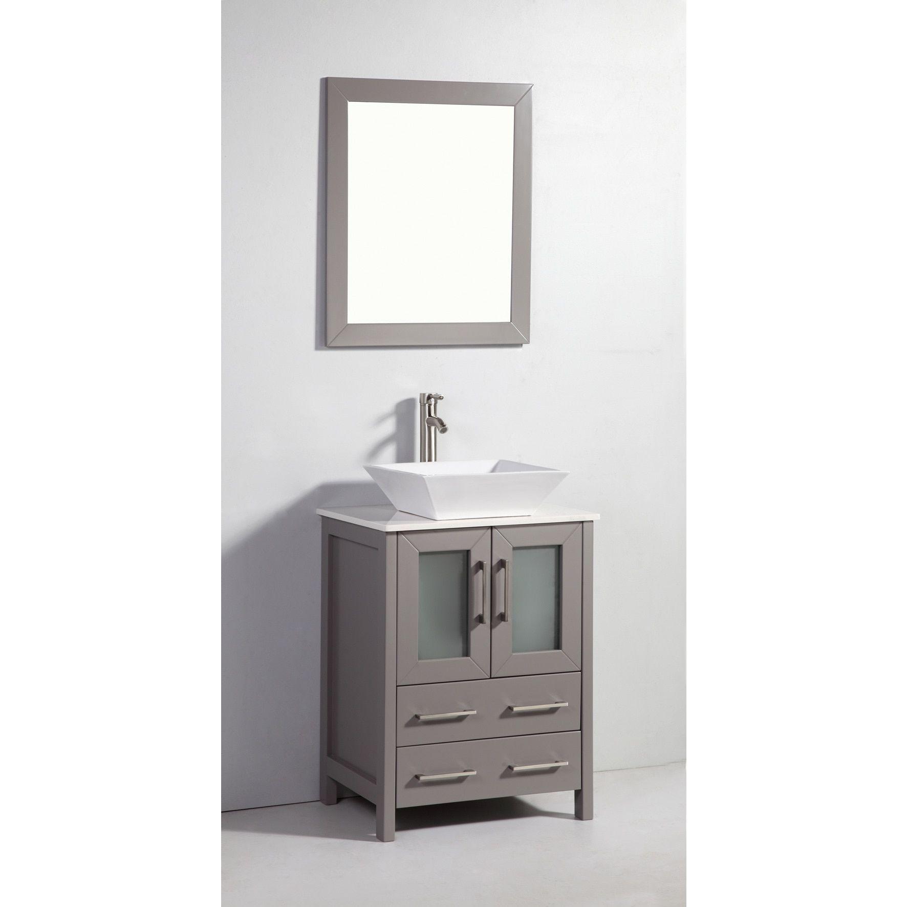 vanity art 24 inch single sink bathroom vanity set with ceramic top rh pinterest com