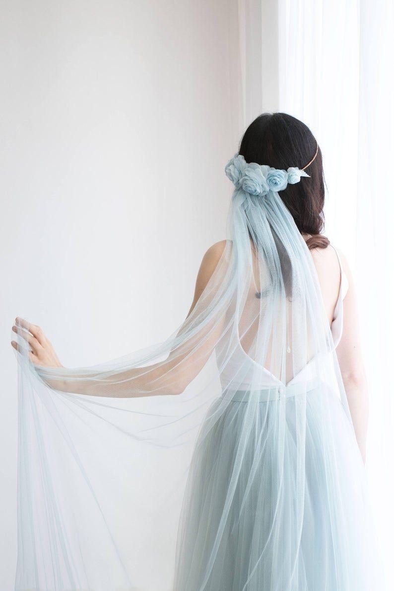 Blue wedding veil flower crown veil bohemian veil custom