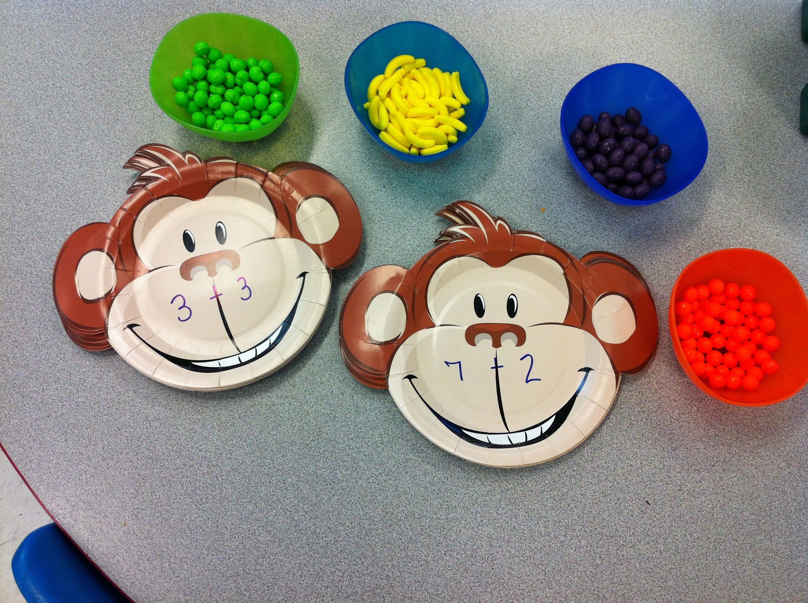 Monkey Plates With Simple Addition Problems Used Runts As