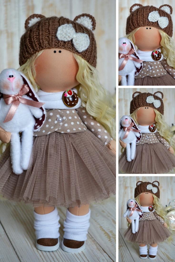 Photo of Interior Rag Doll Textile Brown Gift Doll Tilda Baby Doll Ha…