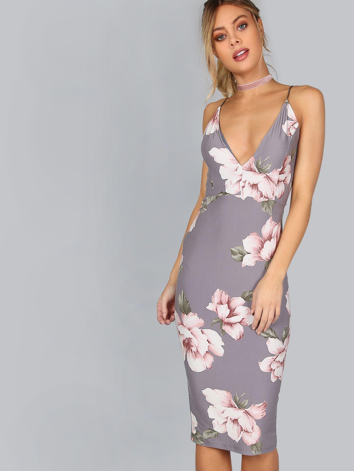 baa2cb04e136 Plunge Neckline Floral Backless Knee Length Dress -SheIn(Sheinside ...