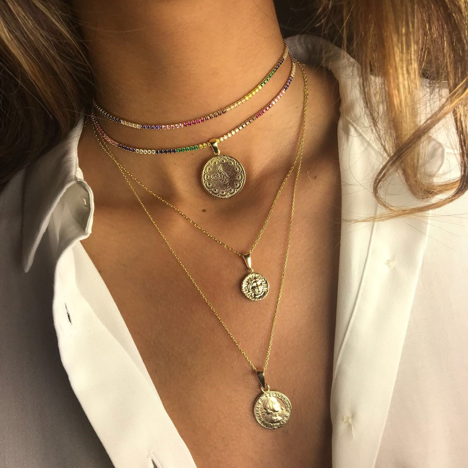Gold Coin Necklace Set, Gold Layered Necklace, Long Gold