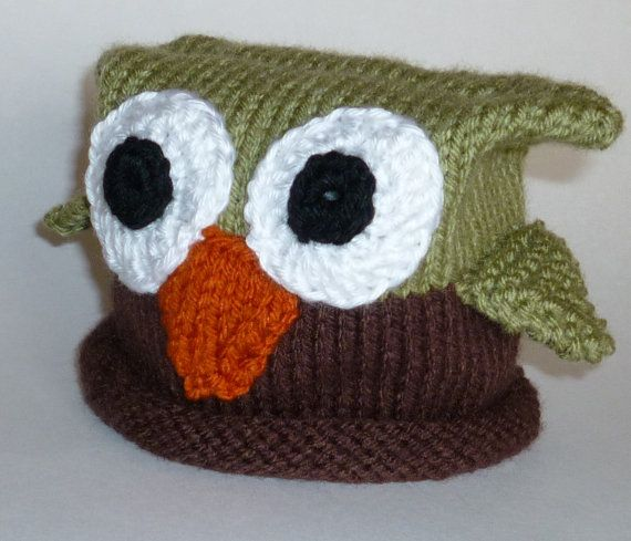 Brown and Green Baby Owl Hat - Knitting