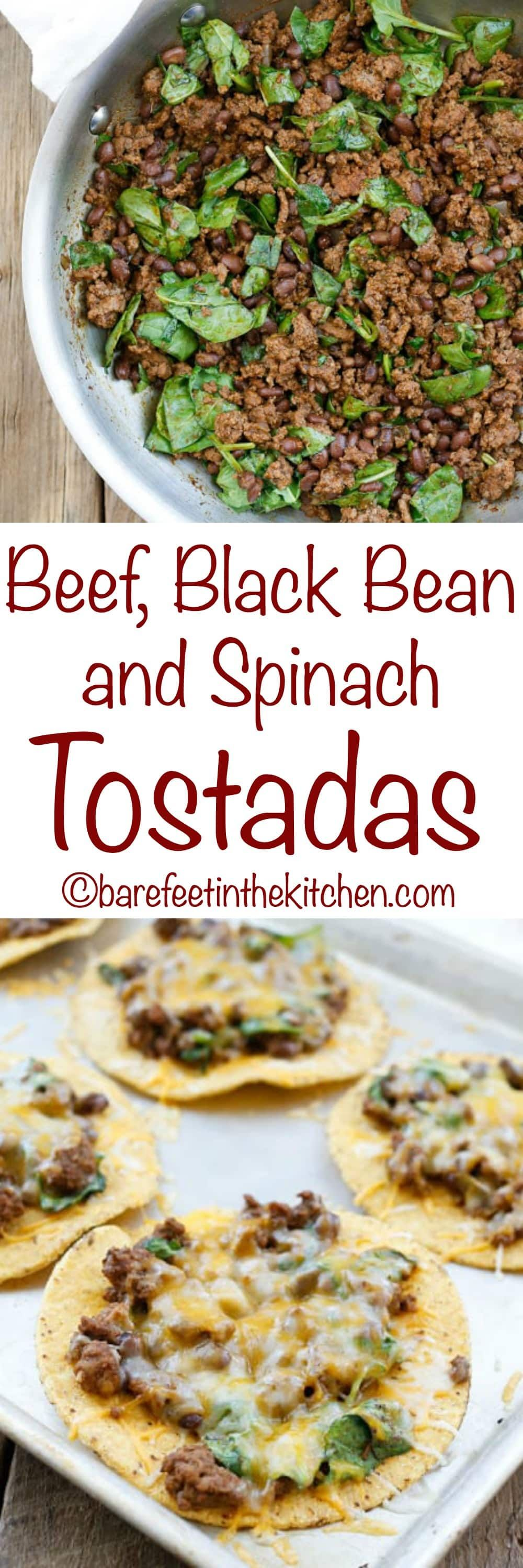Beef Black Bean And Spinach Tostadas Are A Lightning Fast Dinner That Everyone Loves Get The Recipe At Barefeetinthekitche Mexican Food Recipes Food Recipes