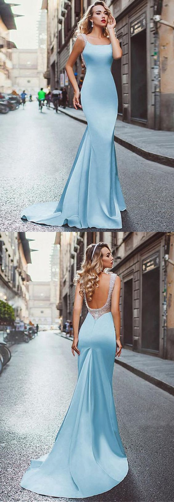 Mermaid scoop sweep train light blue stretch satin backless beaded