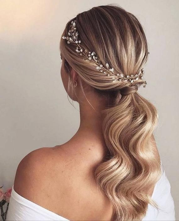 Gold hair vine Crystal hair vine Babys breath hair