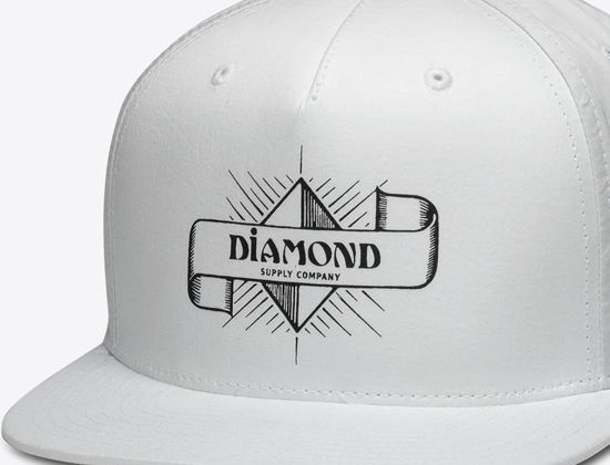 reputable site 992df 1f358 Lifestyle brand DIAMOND Supply Co. goes back to the good old days of skate  graphics with one of their new hats, the Desert Nights White snapback cap.