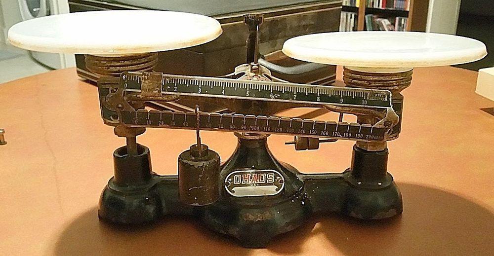 Antique Double Pan Balance Scale Ohaus USA Milk Glass Pans 1920's #Uhaus