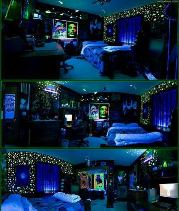 Black light stoner room | Awesome rooms | Stoner bedroom ...