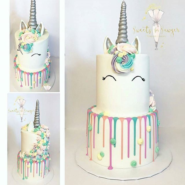 Unicorn Drip Cake Two Tiers Pastel And Silver Colours Xo