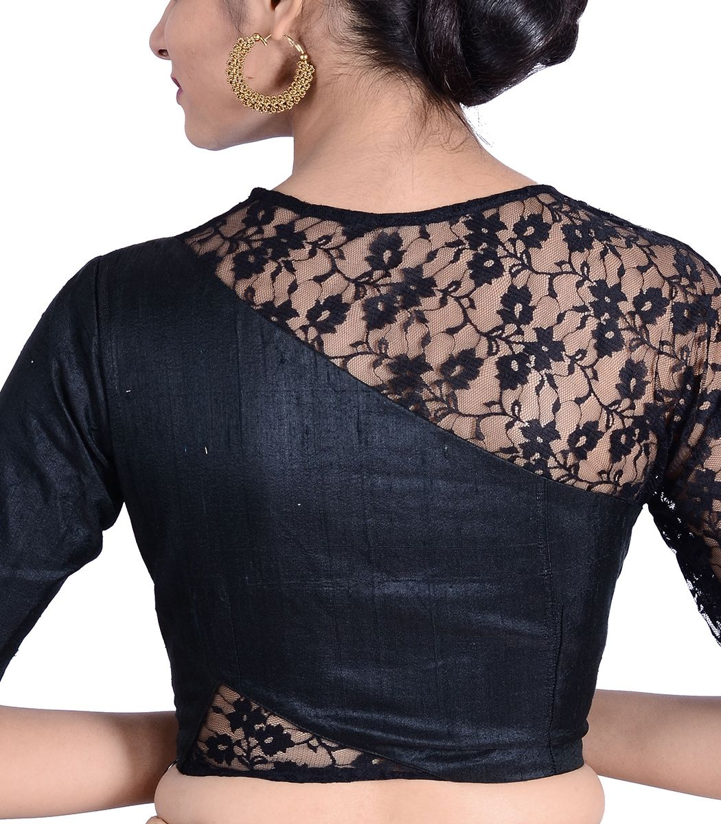 49783ec48e9037 Black Raw Silk Designer Blouse - BL30026