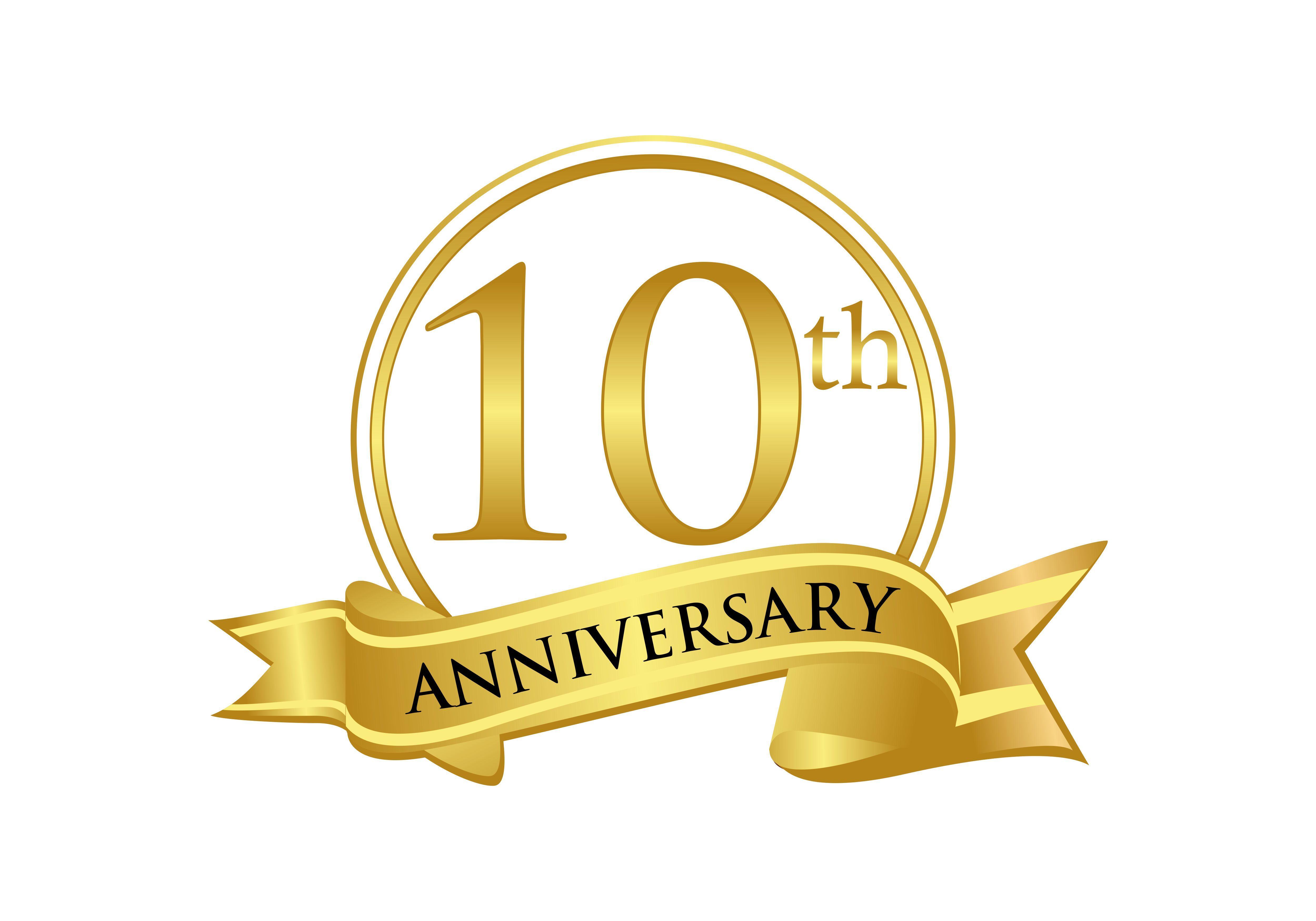 10th Anniversary Celebration Logo Vector Graphic By Deemka Studio Creative Fabrica Vector Logo Anniversary Celebration Free Business Card Templates