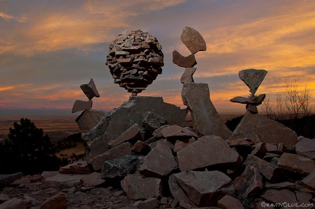 the balanced rock sculptures of michael grab rely solely on,