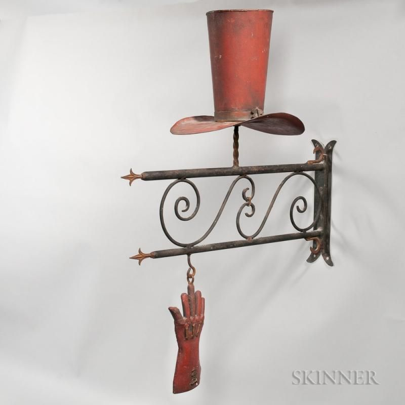 Painted Sheet and Wrought Iron Hatter\u0027s Trade Sign, ht 34, lg 35 1