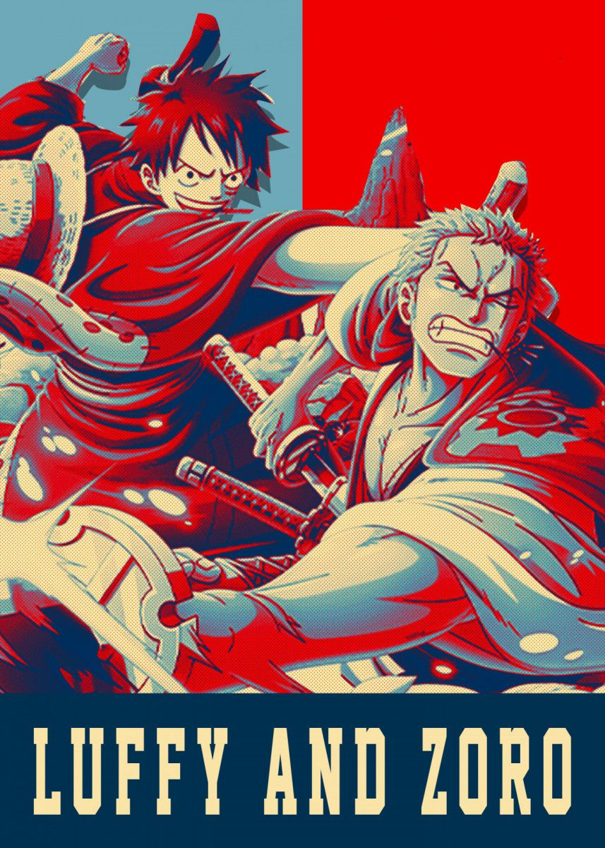 Luffy And Zoro Pop Art Poster Print metal posters di
